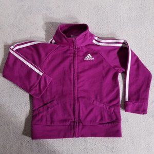 adidas 3-Stripes Big Logo Pink & White Zip Jacket